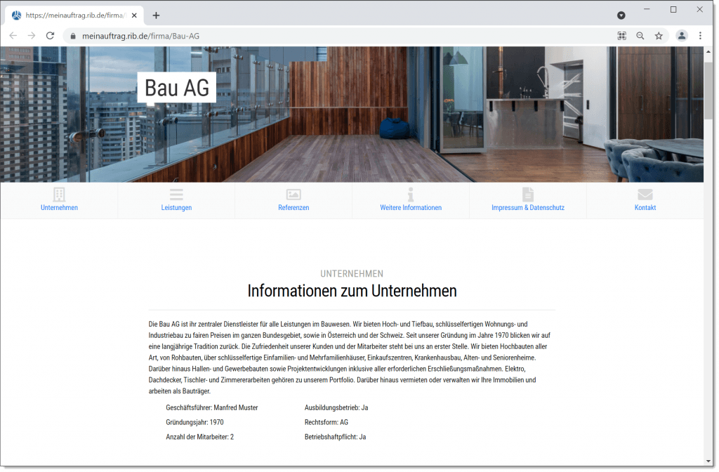 Firmenprofil - Eigene Webseite